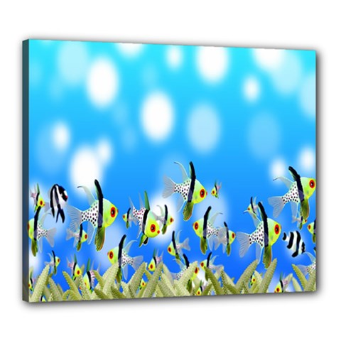 Pisces Underwater World Fairy Tale Canvas 24  x 20