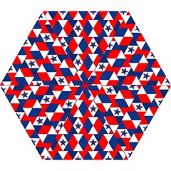 Patriotic Red White Blue 3d Stars Mini Folding Umbrellas by Nexatart