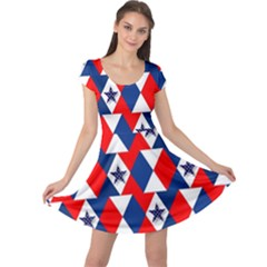 Patriotic Red White Blue 3d Stars Cap Sleeve Dresses by Nexatart