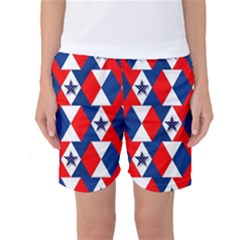 Patriotic Red White Blue 3d Stars Women s Basketball Shorts by Nexatart