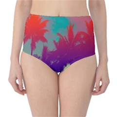 Tropical Coconut Tree High-Waist Bikini Bottoms by Jojostore