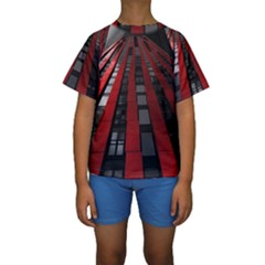 Red Building City Kids  Short Sleeve Swimwear