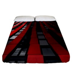 Red Building City Fitted Sheet (california King Size) by Nexatart