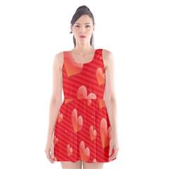 Red Hearts Scoop Neck Skater Dress