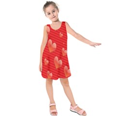 Red Hearts Kids  Sleeveless Dress by Nexatart