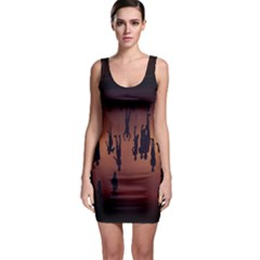 Silhouette Of Circus People Sleeveless Bodycon Dress
