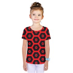 Red Bee Hive Texture Kids  One Piece Tee by Nexatart