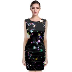 Star Ball About Pile Christmas Classic Sleeveless Midi Dress