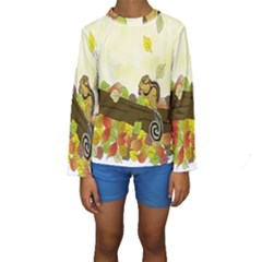 Squirrel Kids  Long Sleeve Swimwear by Nexatart
