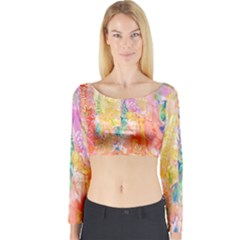 Watercolour Watercolor Paint Ink  Long Sleeve Crop Top by Nexatart