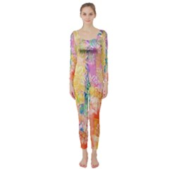 Watercolour Watercolor Paint Ink  Long Sleeve Catsuit by Nexatart