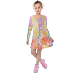 Watercolour Watercolor Paint Ink  Kids  Long Sleeve Velvet Dress by Nexatart