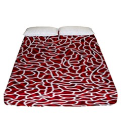 Tangled Thread Red White Fitted Sheet (California King Size)