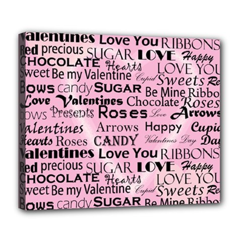 Valentine Love Heart Roses Sweet Pink Deluxe Canvas 24  X 20   by Jojostore