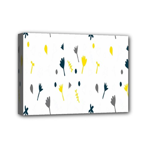 Flower Floral Yellow Blue Leaf Mini Canvas 7  X 5  by Jojostore