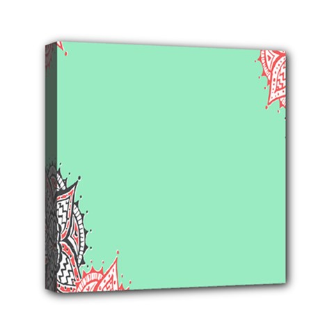 Flower Floral Green Mini Canvas 6  X 6  by Jojostore