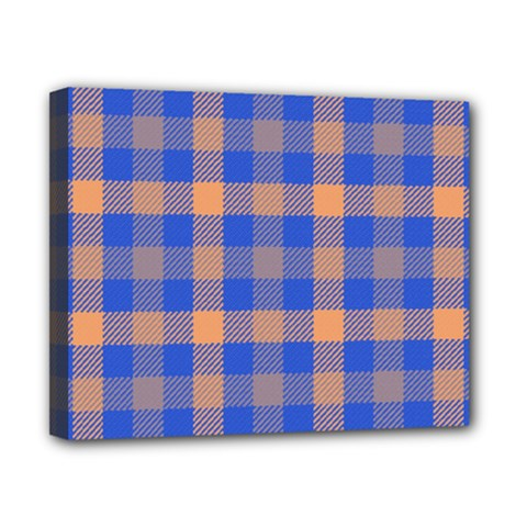 Fabric Colour Blue Orange Canvas 10  X 8  by Jojostore