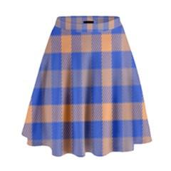 Fabric Colour Blue Orange High Waist Skirt by Jojostore