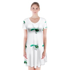 Flying Dragonfly Short Sleeve V Neck Flare Dress by Jojostore