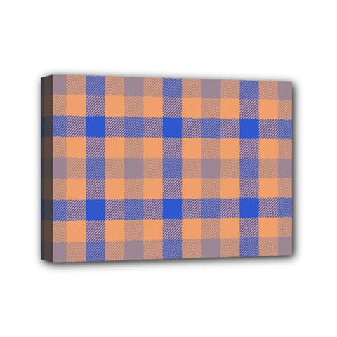 Fabric Colour Orange Blue Mini Canvas 7  X 5  by Jojostore