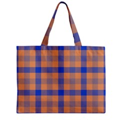Fabric Colour Orange Blue Zipper Mini Tote Bag by Jojostore