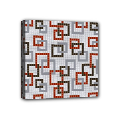 Links Rust Plaid Grey Red Mini Canvas 4  X 4  by Jojostore