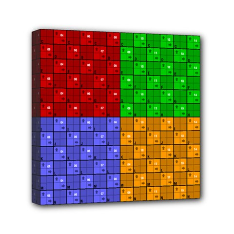 Number Plaid Colour Alphabet Red Green Purple Orange Mini Canvas 6  X 6