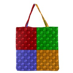Number Plaid Colour Alphabet Red Green Purple Orange Grocery Tote Bag by Jojostore