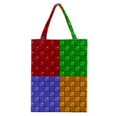 Number Plaid Colour Alphabet Red Green Purple Orange Classic Tote Bag by Jojostore