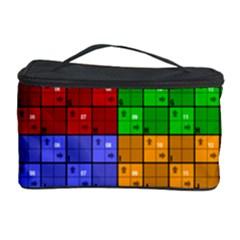 Number Plaid Colour Alphabet Red Green Purple Orange Cosmetic Storage Case by Jojostore