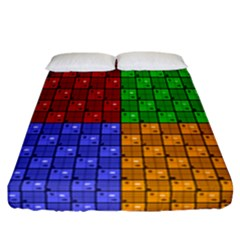 Number Plaid Colour Alphabet Red Green Purple Orange Fitted Sheet (california King Size) by Jojostore