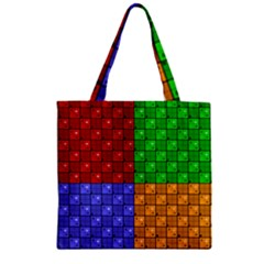 Number Plaid Colour Alphabet Red Green Purple Orange Zipper Grocery Tote Bag by Jojostore