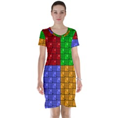 Number Plaid Colour Alphabet Red Green Purple Orange Short Sleeve Nightdress by Jojostore