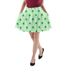 Palm Tree Coconoute Green Sea A-Line Pocket Skirt