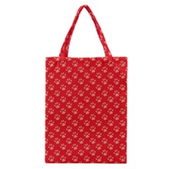 Paw Print Background Wallpaper Cute Paw Print Background Footprint Red Animals Classic Tote Bag by Jojostore