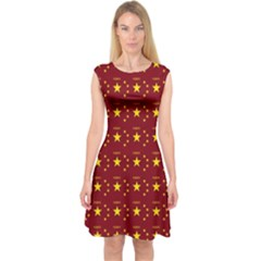 Chinese New Year Pattern Capsleeve Midi Dress