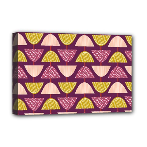 Retro Fruit Slice Lime Wave Chevron Yellow Purple Deluxe Canvas 18  X 12   by Jojostore