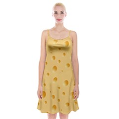 Seamless Cheese Pattern Spaghetti Strap Velvet Dress by Jojostore