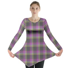 Tartan Fabric Colour Purple Long Sleeve Tunic  by Jojostore