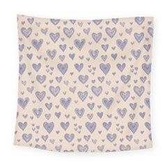 Heart Love Valentine Pink Blue Square Tapestry (large) by Jojostore