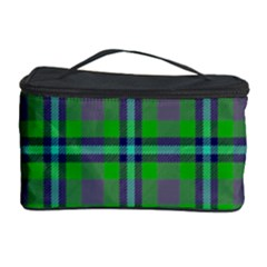 Tartan Fabric Colour Green Cosmetic Storage Case by Jojostore