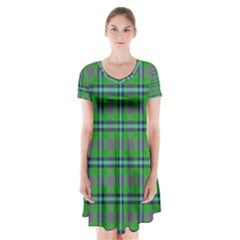 Tartan Fabric Colour Green Short Sleeve V Neck Flare Dress by Jojostore