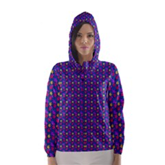 Beach Blue High Quality Seamless Pattern Purple Red Yrllow Flower Floral Hooded Wind Breaker (women) by Jojostore