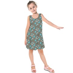 Animals Deer Owl Bird Bear Bird Blue Grey Kids  Sleeveless Dress