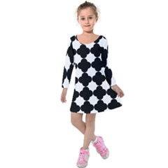 Black Four Petal Flowers Kids  Long Sleeve Velvet Dress by Jojostore