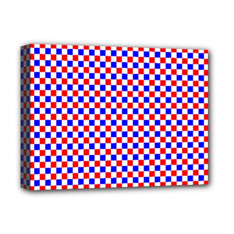Blue Red Checkered Plaid Deluxe Canvas 16  X 12   by Jojostore
