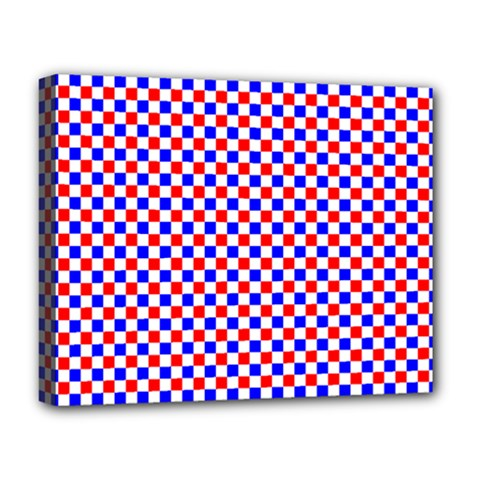 Blue Red Checkered Plaid Deluxe Canvas 20  X 16   by Jojostore
