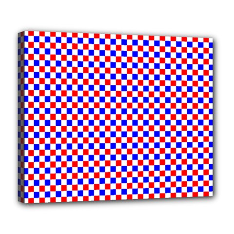 Blue Red Checkered Plaid Deluxe Canvas 24  X 20   by Jojostore