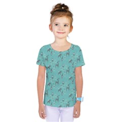 Animals Deer Owl Bird Grey Bear Blue Kids  One Piece Tee by Jojostore