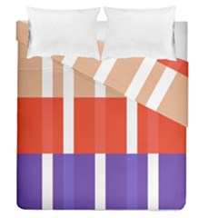 Compound Grid Flag Purple Red Brown Duvet Cover Double Side (queen Size) by Jojostore